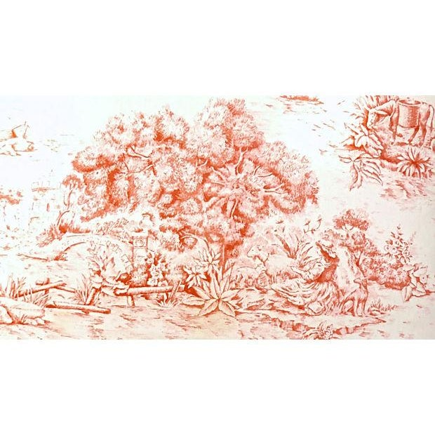Antique French Toile Fauteuil And Ottoman - Image 10 of 10