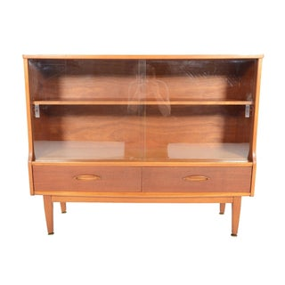 Jentique Narrow Teak & Glass Bookcase