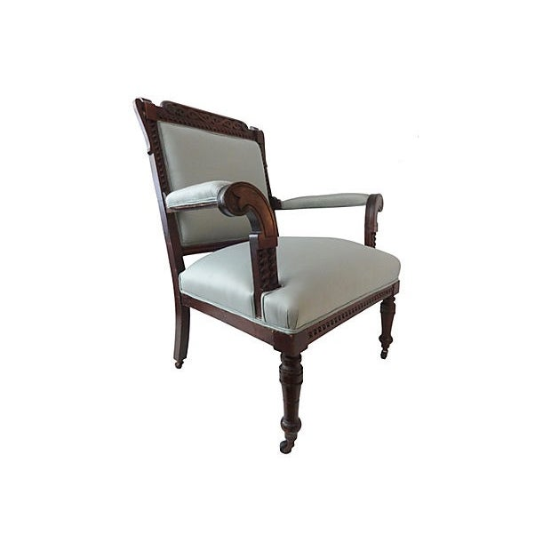 Antique Victorian Chair with Blue Silk - Image 6 of 7