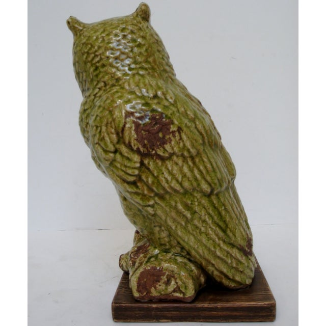 Image of Green Ceramic Owl Figurine