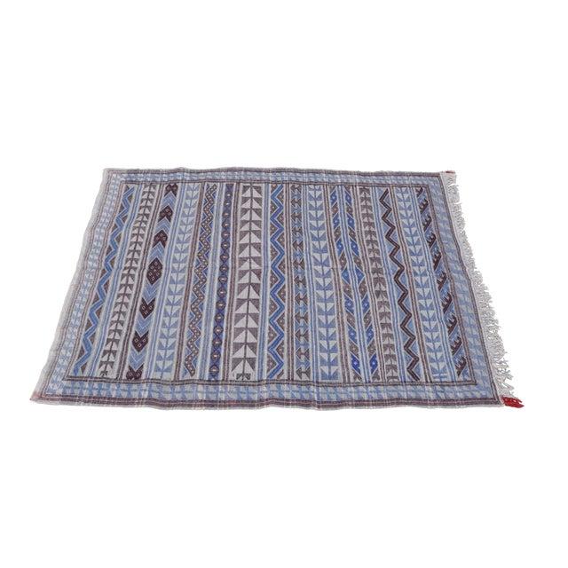 "Moroccan Flatweave Violet & Blue Rug - 4'10"" x 7' - Image 7 of 8"