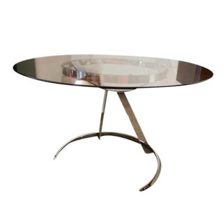 Boris Tabakoff Round Breakfast or Center Table in Glass and Chromed Steel