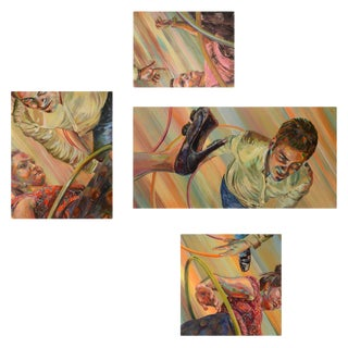 DATING GAME Signed Original Quadriptych Painting