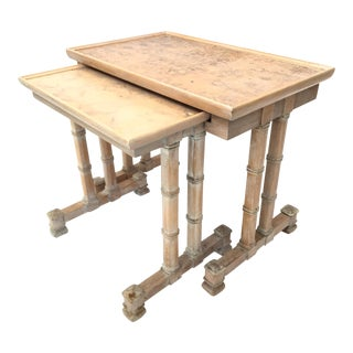 Dorothy Draper Heritage Bamboo Nesting Side Tables - a Pair