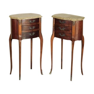 Louis XVI Marble Top Nightstands - A Pair