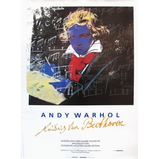 "1990 Andy Warhol ""Ludwig Van Beethoven"" German Exhibition Poster"