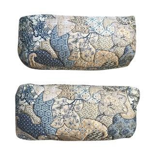 1970s Vintage Asian Quilted Lumbar Pillows - Pair