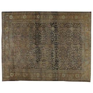 "Antique Persian Mahal Distressed Rug - 9'4"" X 11'11"""