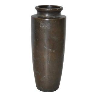Circa 1920 Japanese Silver Inlaid Bronze Vase