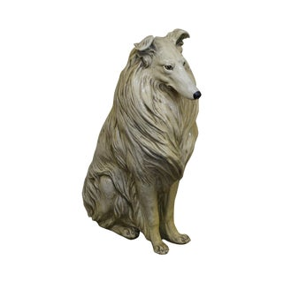 Mid Century Life Size Seated Collie Dog Statue
