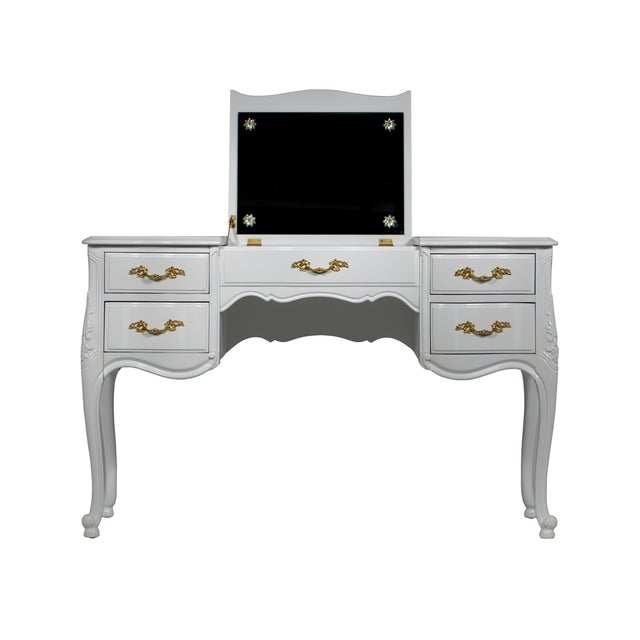 Vintage French-Style White Vanity Desk with Mirror - Image 2 of 7