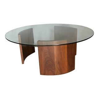 Vladimir Kagan Radius Walnut & Chrome Coffee Table