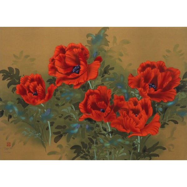 "Image of David Lee, ""Poppies (9),"" Lithograph"