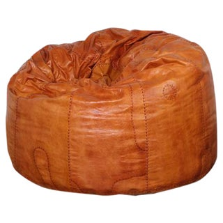 Large Patinated Leather Beanbag
