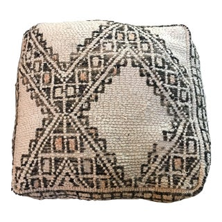 Cream & Brown Moroccan Floor Pouf