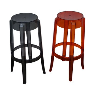 Charles Ghost Polycarbonate Bar Stools by Cartel -- A Pair