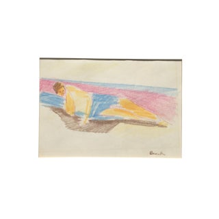 1960s Beach Figurative Colored Pencil Drawing
