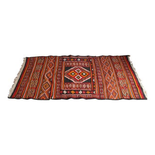 Antique Geometric North African Handwoven Wool Rug - 3′9″ × 8′