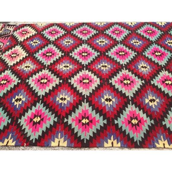 Vintage Pink Turkish Kilim Rug - 6′11″ × 10′6″
