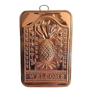 Vintage O. D. I. Copper Pineapple Welcome Kitchen Mold Wall Hanging