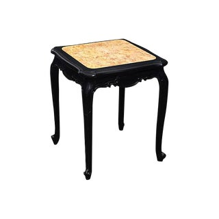 Louis XV Ebonized Side Table with Marble Top
