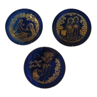 Total-Orrefors Mothers Day Plates 1973 - Set of 3