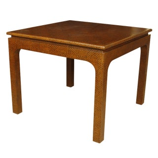 Karl Springer Style Woven Raffia Game Table