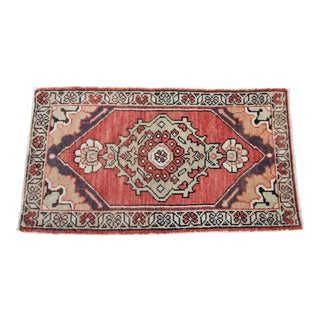 Vintage Turkish Oushak Tribal Hand Knotted Rug- 1'8 x 3'