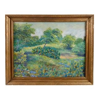 Texas Bluebonnets Oil Painting, Circa 1940's