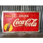 Image of Vintage 1940s Original Metal Coca Cola Sign