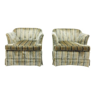 Mid-Century Striped Velvet Arm Chairs - A Pair