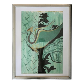 Original Framed Painting of Tropical Turquoise Peacock