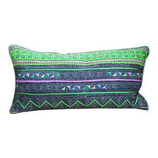 "Vintage Hmong Applique Pillow - 22"" x 11"""