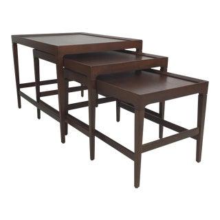 Set of Three Modernist Walnut Nesting Tables