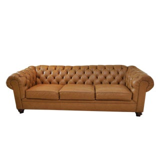 Ethan Allen 3 Seat Chesterfield Style Leather Tufted Sofa