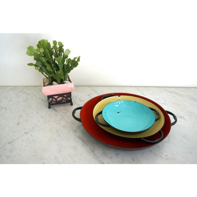 Colorful Enamel Tray Bowls - Set of 3 - Image 7 of 7
