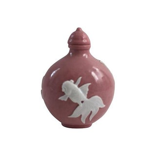 Chinese Pink Porcelain Koi Fish Bottle