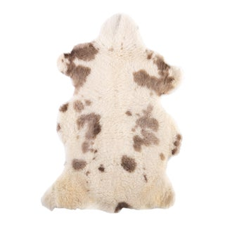 "Brown & White Handmade Sheepskin Rug - 3'5""x2'0"""