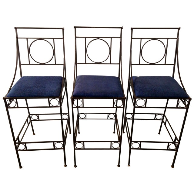 Blue Seat & Wrought Iron Bar Stools - Set of 3 - Image 1 of 6