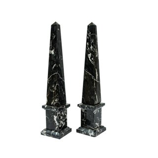 Italian Black Veined Marble Obelisks - A Pair