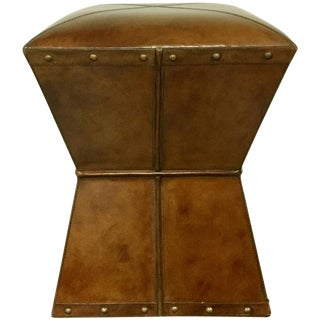 Square Leather Stool / End Table