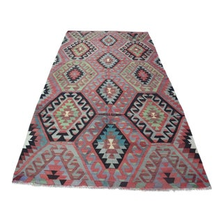 Turkish Vintage Kilim Rug - 4′11″ × 9′4″
