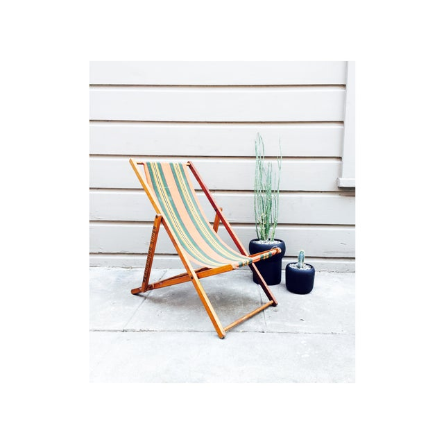 Antique Folding Beach Chair - Image 2 of 6