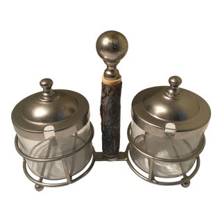 Vintage Bark Trimmed Condiment Set - A Pair
