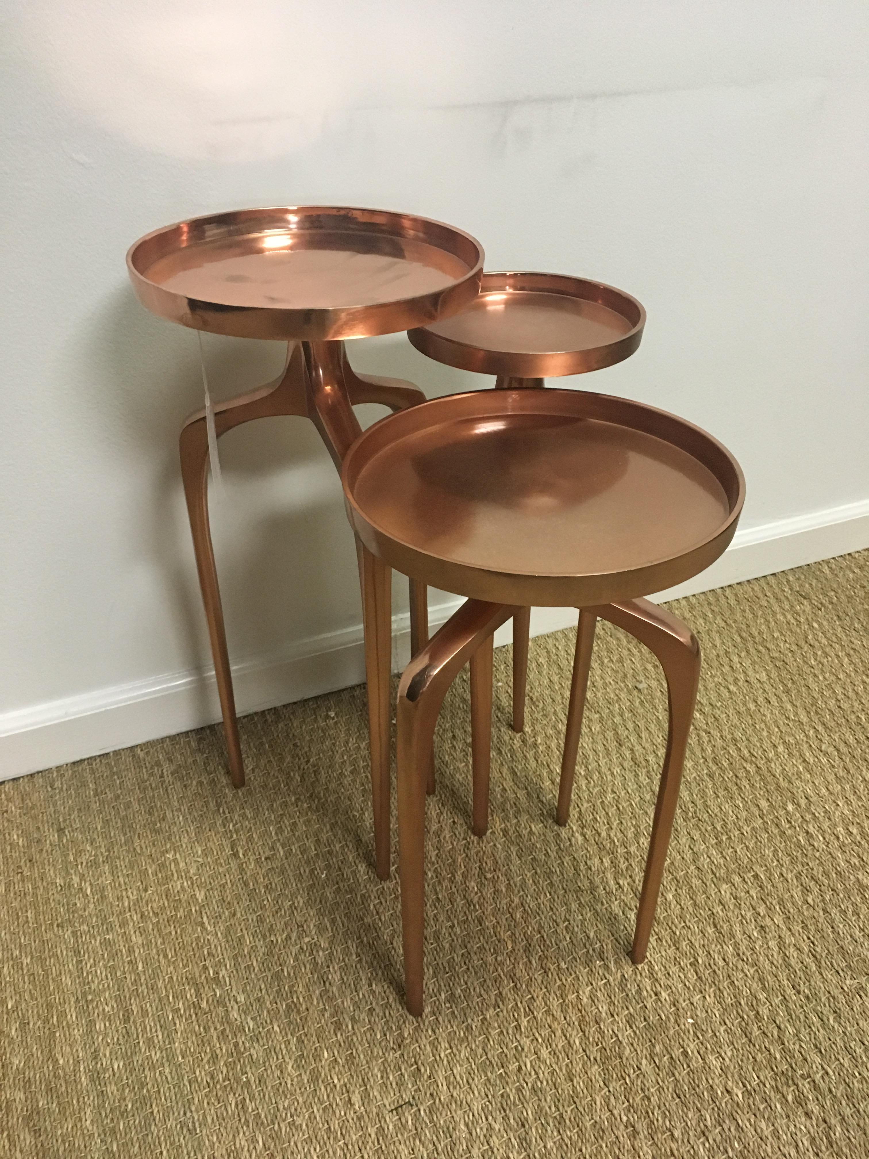 Rose Gold Side Tables   Set Of 3   Image 4 Of 6
