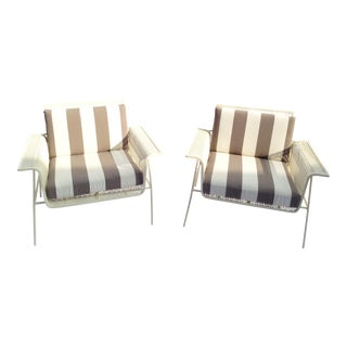 White Metal Outdoor Armchairs - Pair