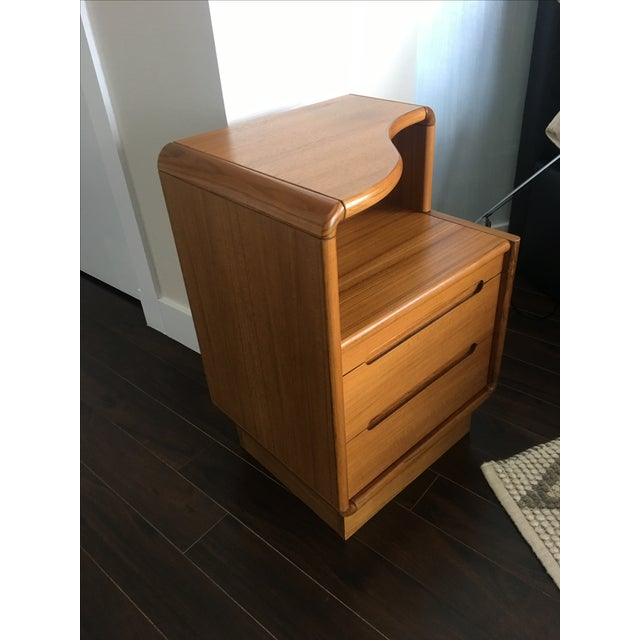 Contemporary Teak Nightstands - A Pair - Image 3 of 8