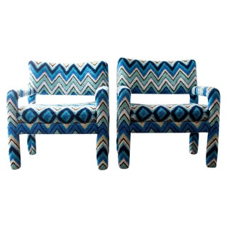 Missoni Covered Parsons Arm Chairs - A Pair