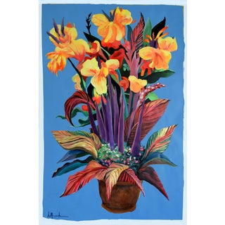 """Pot De Fleurs"" Calla and Canna Watercolor Painting"
