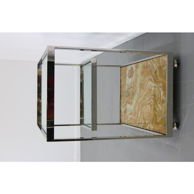 Mid-Century Chrome Glass & Onyx Bar Cart - Image 7 of 8